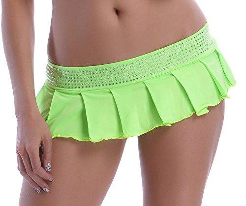 POLY Minifalda plisada, con tira de brillantes verde neón