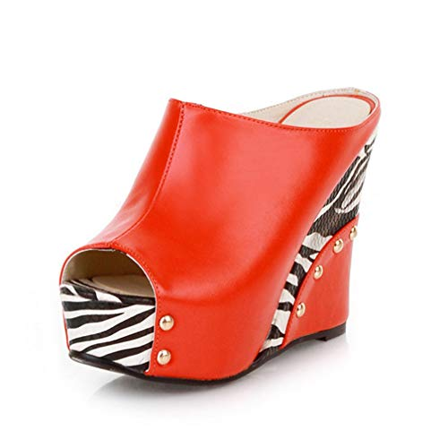 ChyJoey Women's Platform Wedge Sandals Sexy Zebra High Heels Studded Pumps Slip On Peep Toe Slide Sandal Red