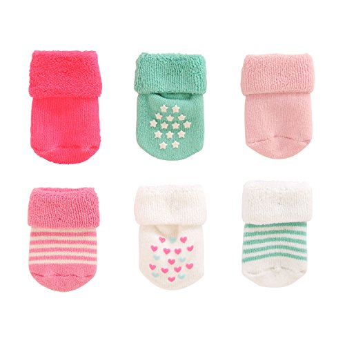 Carter's Girl 6-Pack Socks with Grippers, Folded Cuff-Terry-Hearts and Stars, 0-3 (Infant Terry Socks)