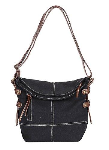 - Fansela(TM) Casual Unisex Nylon Leisure Canvas Crossbody Bag Black