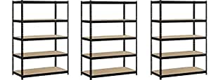 "EDSAL Heavy Duty Garage Shelf Steel Metal Storage 5 Level Adjustable Shelves Unit 72"" H x 48"" W x 24"" Deep (3 Pack)"