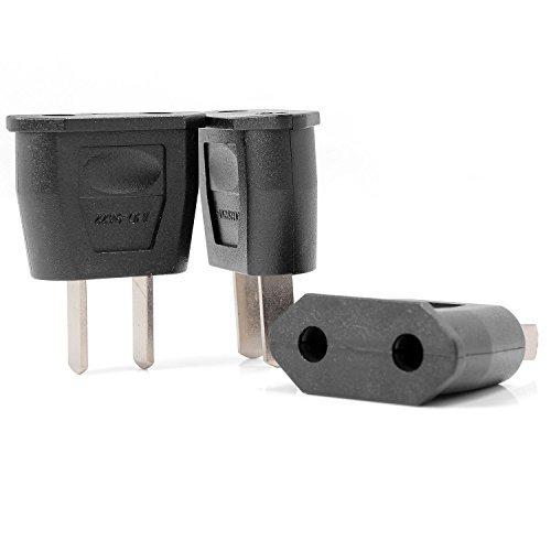 Neuftech 3x Reiseadapter Netzstecker DE Euro-Buchse auf USA US-Stecker 2pin - Schwarz