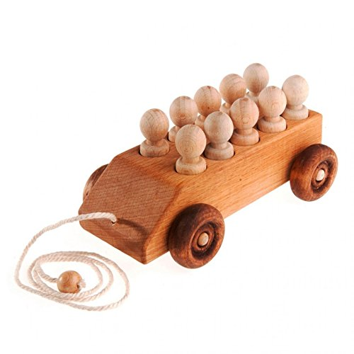 A car with 10 passengers, Wooden Baby Toy, Pull Along Toy