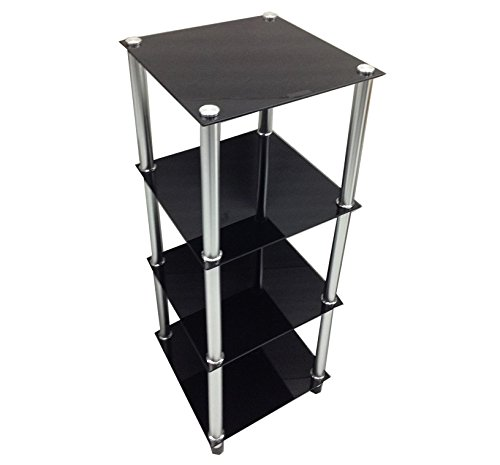 Four Tier Black Glass with Silver Poles Tower Shelf