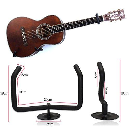 JJOnlineStore Wandhalterung für Gitarre oder Ukulele, horizontale Wandhalterung, Set zum selbst zusammenbauen, Schwarz