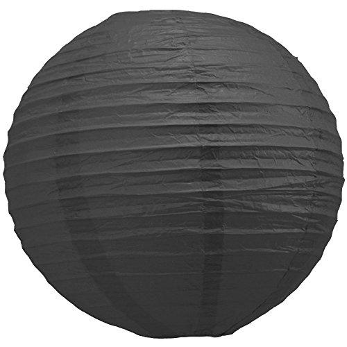 "Quasimoon 8"" Black Round Paper Lantern, Even Ribbing, Hanging Decoration (10 Pack) by PaperLanternStore"