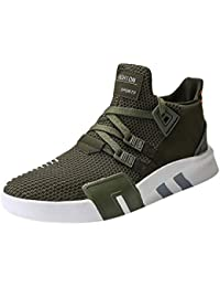 Trendy Flyknit Mens Trainers Sports Running Shoes Mesh Breathable Lightweight Lace-Up Sneakers for Athletic