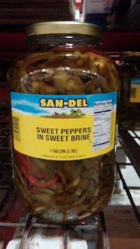 Italian Sweet Peppers - San-Del: Sweet Peppers in Sweet Brine 1 Gallon