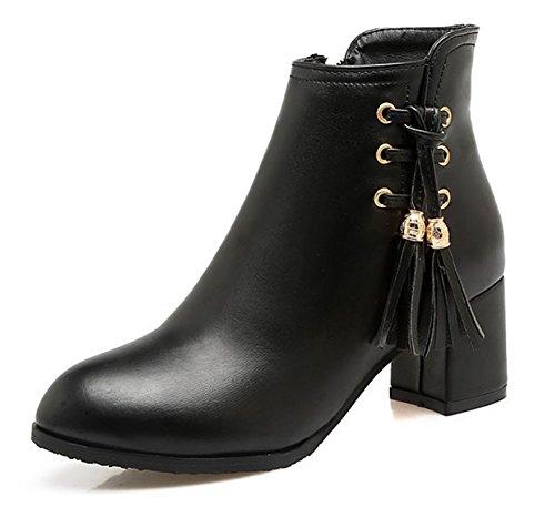 Franges Noir Femme Aisun Bottines Confortable Randonnée OEfFaq