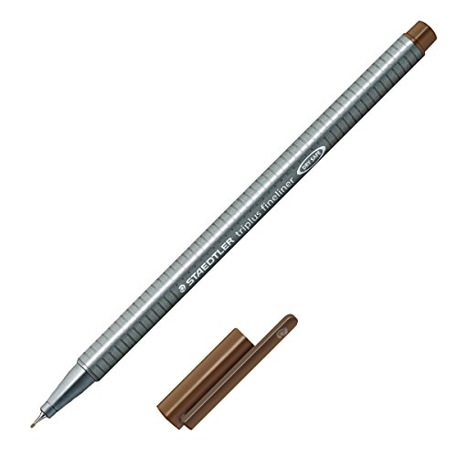 Staedtler Triplus Fineliner Marker Pen - 0.3 mm - Sepia Brown (Triangular Metal Pen Shaped)
