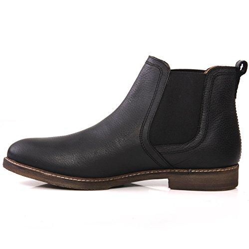 Unze Mens 'Ashton' cuero tirón en botas de desierto Reino Unido tamaño 7-11 Negro