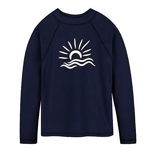 TFJH E Little Girls Sun Protection Swim Suit Shirt UPF 50+ Swimming Sunsuit for Girl Boys, Navy -