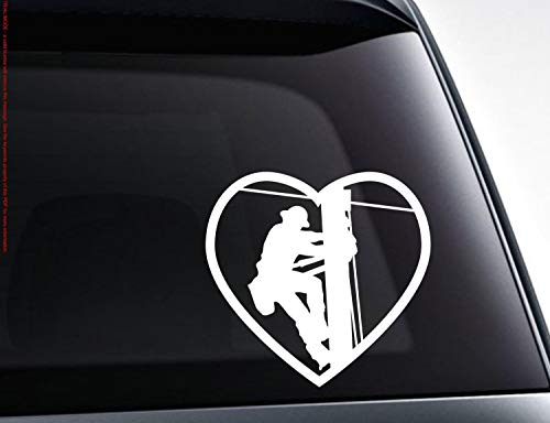 CELYCASY Lineman Power Worker die Cut Vinyl car Decal Gift for Electrician Wife Girlfriend car Truck SUV Window Decal