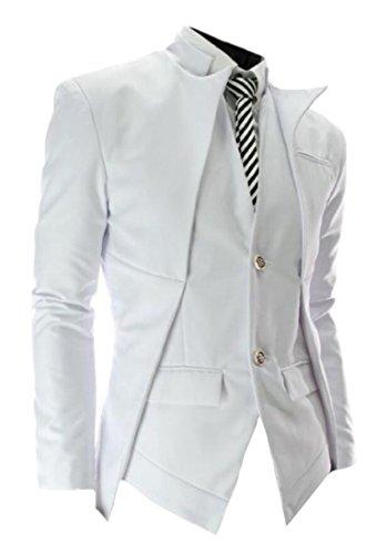 TM white Men's Korean Casual asymmetric design slim fit Suit ...