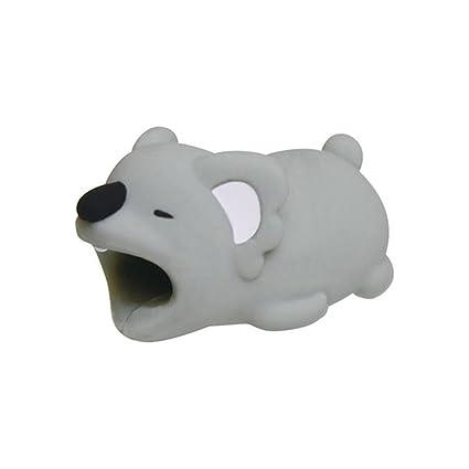 Protector de Cargador Cable USB para IPhone,Organizadores de Cables Cubre para Celular, Universal Electronics Accessories Diseno Animales (Koala gris)