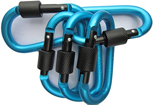 LeBeila Carabiner Clip Aluminum D-Ring Carabiners - 5 Pack Screw Locking Buckle Hook D Shape Spring Snap Keychain Clips Strong & Light Lock Caribeaners For Outdoor Camping Hiking Fishing (Light Blue) ()