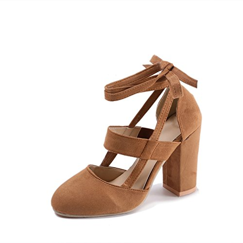 The small cat Plus Size Female Ankle Strap High Heels Thick Heel Fashion Women Party Wedding Pumps,Khaki,6.5 (Tulsa 9 12)