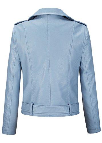 Nero Azzurro Rock Pelle Giacca Bikers Donna Da Cuccetta In Montato Vintage Donne Delle Style RqAnp0CwxC