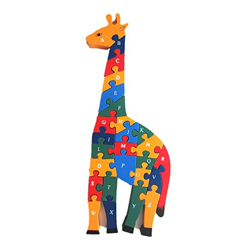 (Elloapic Wooden Giraffe 3D Puzzle Children's Toys Preschool Enlightenment Early Learning 26 English ABC Letters and Numbers Alphanumeric Cognition Puzzle )