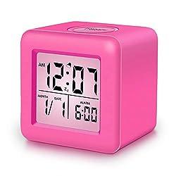 Alarm Clock, SkyNature Digital Soft Cube Snooze Light Alarm Clock for Students Kids & Teens (Hot Pink)
