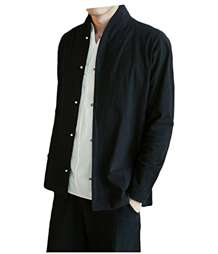 - Nothar Men's Loose Long Sleeve Banded Collar Solid Linen Coat