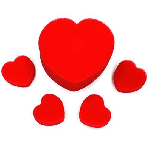 OUERMAMA Red Sponge Heart – Close-up Magic Tricks Accessories (1 Big & 4 Small)