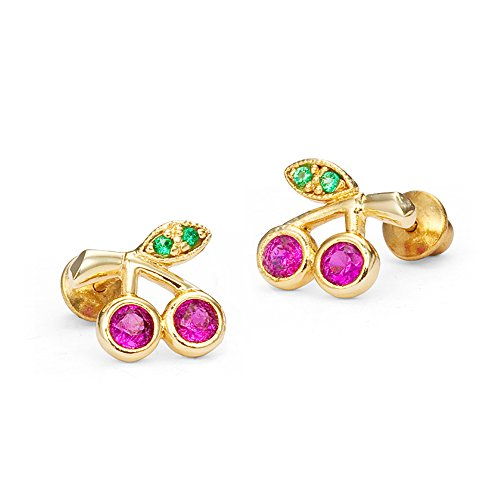 14k Gold Plated Brass Baby Cherry Cubic Zirconia Screwback Girls Earrings with Sterling Silver Post