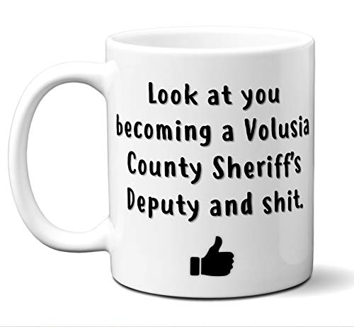 Volusia County Sheriff Graduation Gifts. New Rookie Police Academy Officer Graduates Mug. Coffee Cup Men Women Him Her School Graduating Students Class 2019 Card Funny Grad Congratulations. (County Police White)