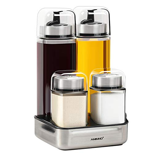 Oil and Vinegar Dispenser Bottles Matching Salt and Pepper Shakers for Home and Kitchen, Stainless Steel Drip Free, (280ml & 90ml) ()