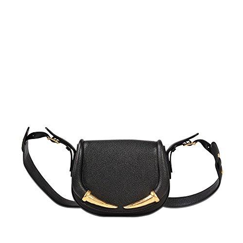 Rtl Bag - Roberto Cavalli Womens Black Grained Leather Tusk Shoulder Bag~RTL$1695