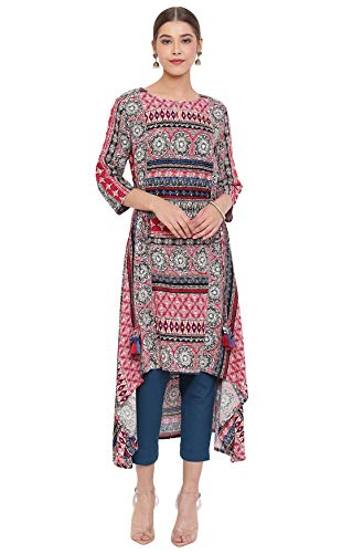 Janasya Indian Women's Multicolor Rayon High Low Kurta