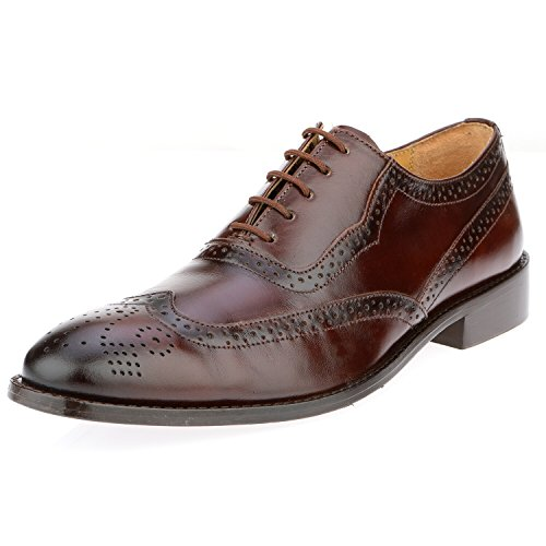 - Liberty Men's Handmade Leather Classic Brogue Wing-Tip Lace Up Perforated Toe Dress Oxford Shoes, Brown,10