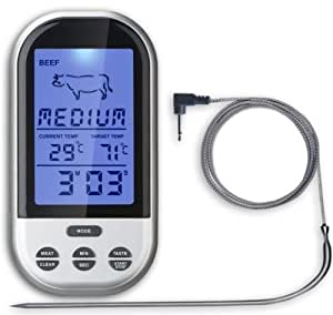 Wireless LCD Remote Thermometer For BBQ Grill Meat Kitchen Oven Food Cooking