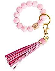Dizzy Creek Designs Silicone Key Ring Bracelet, Women Beaded Bangle Keychain Wristlet Leather Tassel