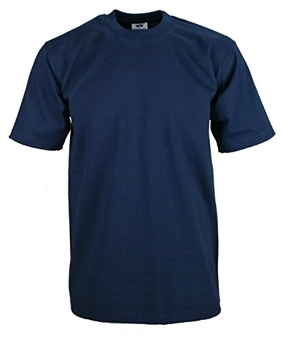 Men's proclub Heavy Weight solid crewneck short sleeve shirts Navy L (Shirt Crewneck Ribbed)