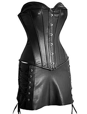 Miss Moly Women's Gothic Punk Faux Leather Steampunk Corset Dress Bustier Plus Size
