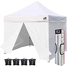 Eurmax 10 x 10 Ez Pop up Canopy Outdoor Party Commercial Tent with 4 Zippered Side Walls and Carry Bag, Bonus Sand Weight Bags