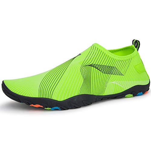 Crova Men Women Water Shoes Quick Dry Lightweight Barefoot Solid Drainage Sole for Swim Diving Surf Beach Aqua Pool, Fluorescent Green, 15