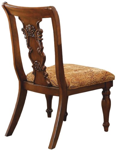 Formal Dining Chairs - Furniture of America Voltaire Formal Side Chair, Dark Oak Finish, Set of 2