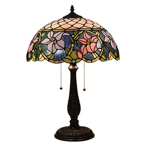 GLMAMK Tiffany Style Table Lamp,16-inch Stained Glass Desk Light,Bedroom Bedside Light for Hotel Clubhouse Coffee Table Cafe, Diameter 400MM, 110-240V (Material : Pull Switch)