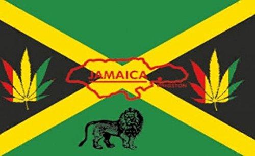 Jamaica Reggae Flag 5ft x 3ft Large - 100% Polyester - Metal