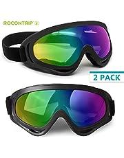 ROCONTRIP Ski Goggles, Snowboard Goggles Double Lens Anti-slip Strap Anti-Fog UV Protection Skating Goggles with Detachable Lens & Strap For Women Men Kids