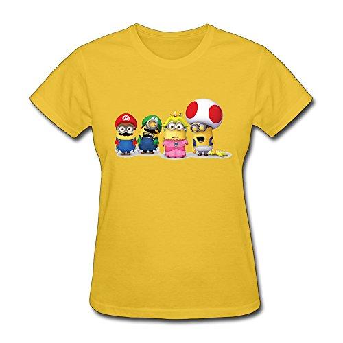 HUBA Women's T-shirt Super Mario Bros 3 Minions 3 Yellow Size S