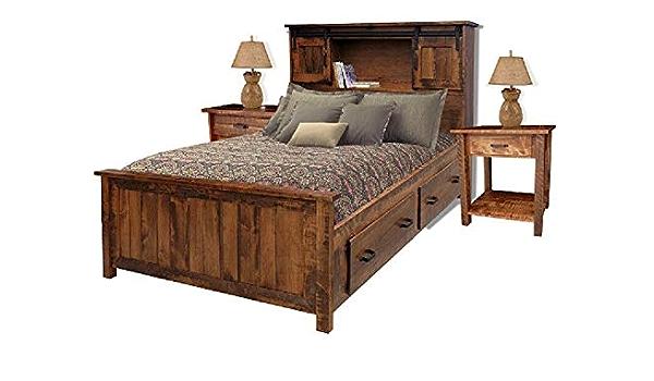 Sliding Barn Door Bookcase Bed W Drawer Unit Dresser Mirror Side Tables Set Furniture Decor