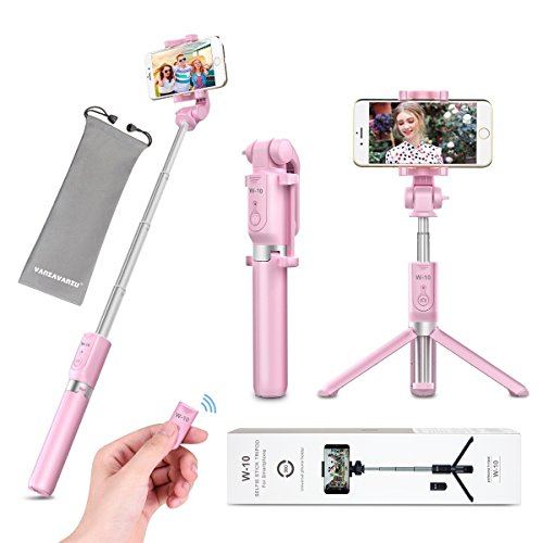 Selfie Stick Tripod with Remote Bluetooth - VANZAVANZU 2018 New Best Selfie Stick Monopod Tripod for iPhone X 6s 7 8 Plus Samsung s7 Edge, Podcast, Live Broadcasting, Facetime (Pink)