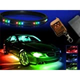 ZHOL 7-colors LED Undercar Neon Strip Underglow Underbody Under Car Body Glow Light Kit