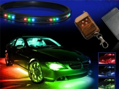 ZHOL 7-colors LED Under-car Neon Strip Underglow Underbody Under Car Body Glow Light Kit