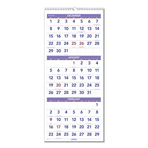 """AT-A-GLANCE 2020 Wall Calendar, 3-Month Display, 12"""" x 27"""", Large, Wirebound, Vertical (PM1128)"""