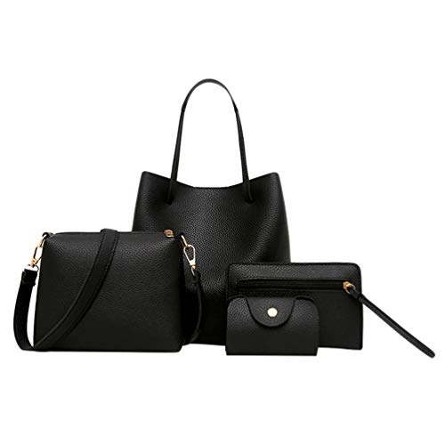 Baijiaye Bag Set Cross Ladies Clutches Tote Piece Shoulder Handbags Bags Black1 For Leather Bag Women PU Bag Body Bag Card Holder 4 xYvnSrxZ