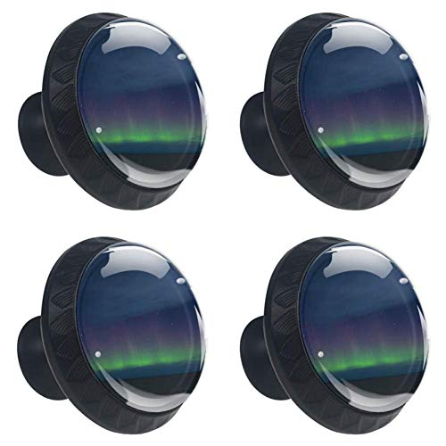 4 Pieces Drawer Knob Pull Handle Northern Lights Aurora Crystal Glass Circle Shape Cabinet Drawer Pulls Cupboard Knobs with Screws for Home Office Cabinet Cupboard